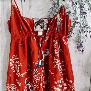 Red Strap Dress with flowers and birds
